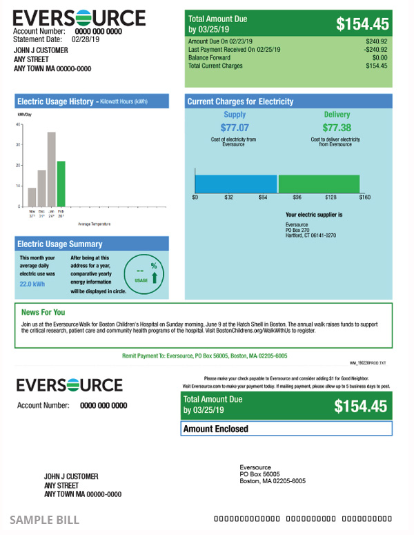 First page of an electric bill for a customer in Western Massachusetts.