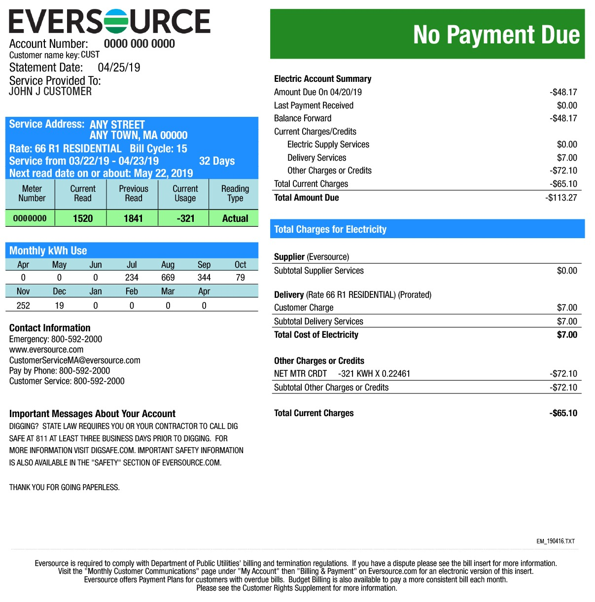 Second page of an electric bill for a customer in Eastern Massachusetts.