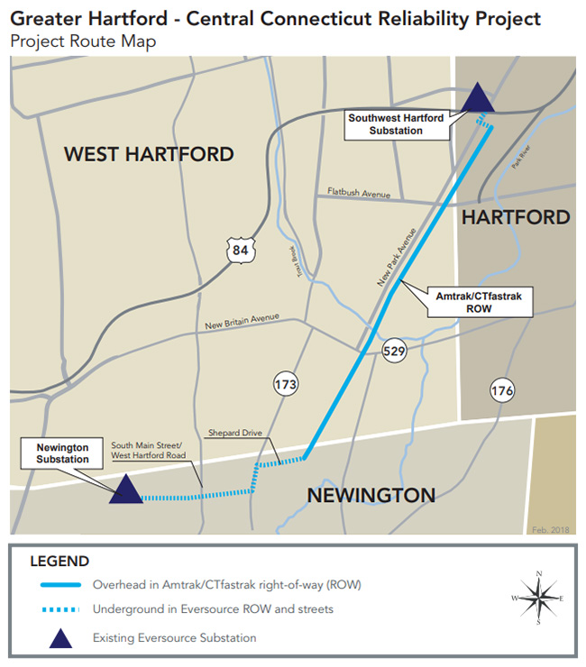 Greater Hartford - Central Connecticut Reliability Project Map