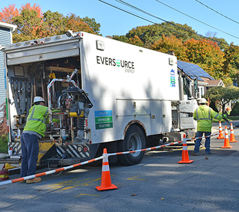 Eversource crews do natural gas repair work in Hyde Park, Massachusetts.