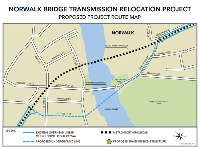 Project route for the Norwalk Bridge Transmission Relocation Project.