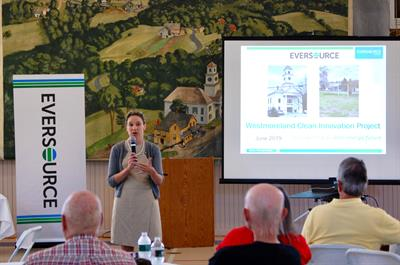 Charlotte Ancel speaks to Westmoreland residents about Eversource's proposed Clean Innovation Project.