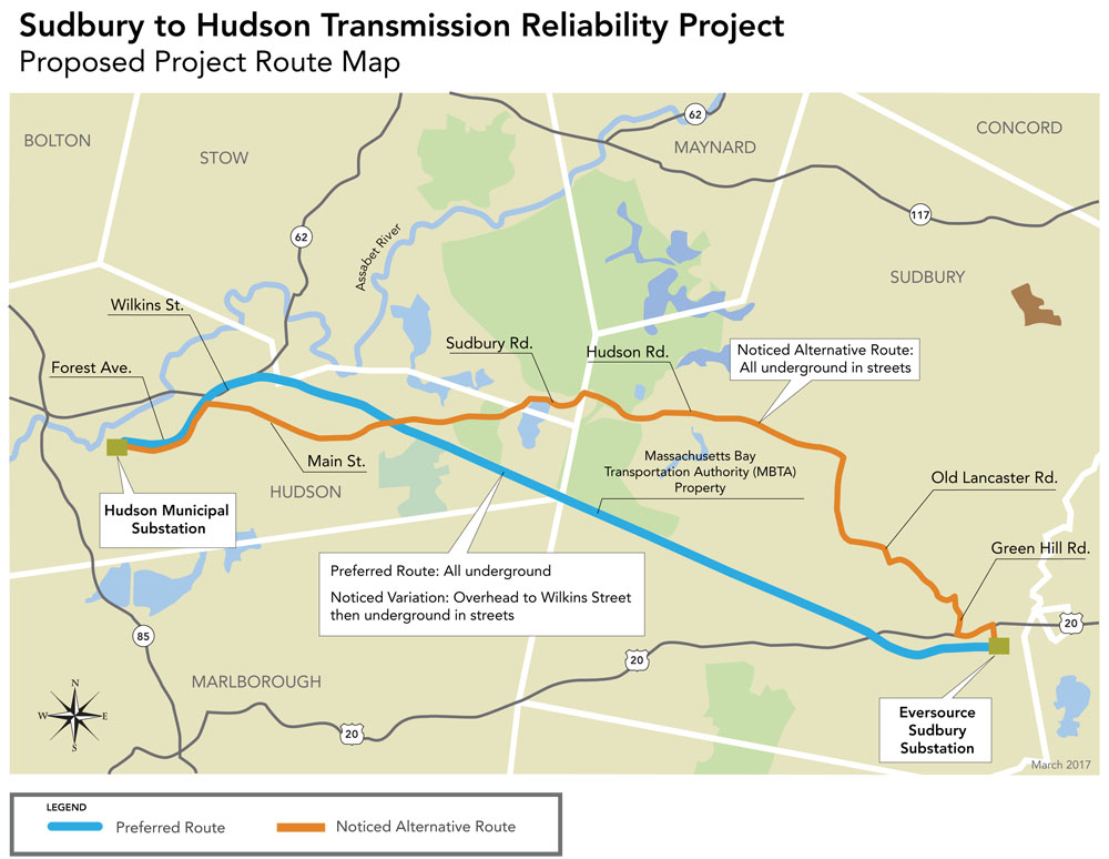 Map Sudbury to Hudson Transmission Reliability Project map