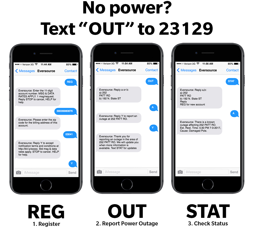 Mobile device showing steps for reporting and tracking a power outage via text message