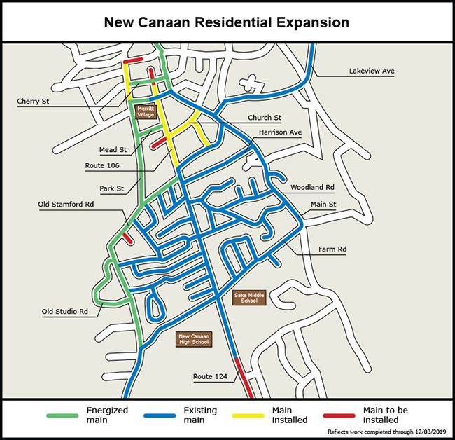 Map of the gas expansion project in New Canaan.